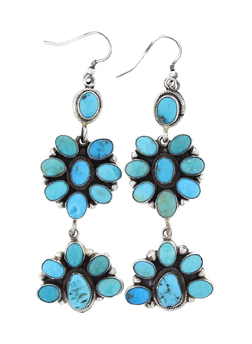Sterling Silver Genuine Turquoise Earrings Navajo