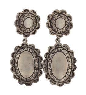 Sterling Silver Vintage Earrings Navajo Native American
