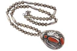 Sterling Silver Navajo Pearl  Beads  Genuine Coral
