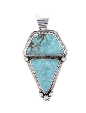 Sterling Silver Genuine Turquoise Pendant Navajo Native