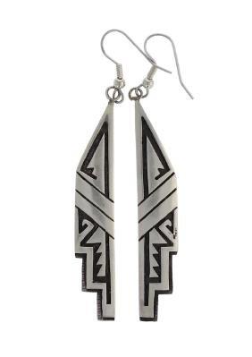 Sterling Silver Hopi Design Earrings Hopi native