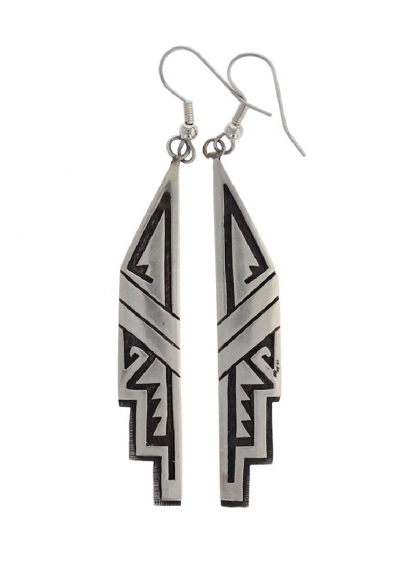 Sterling Silver Hopi Design Earrings Hopi native