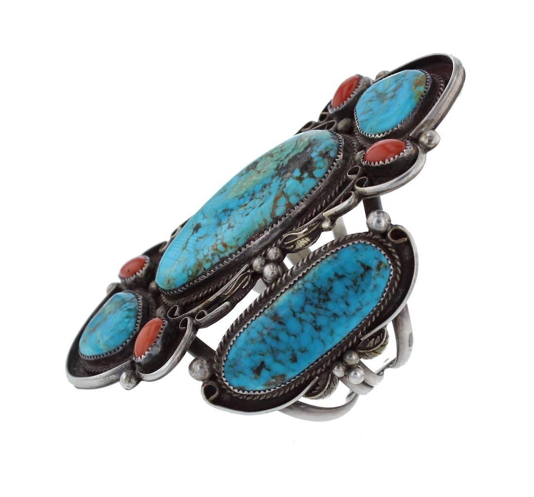 Sterling Silver Genuine Turquoise & Coral Masterpiece - 3