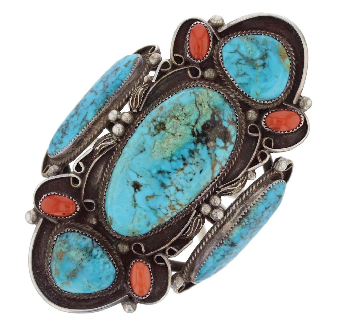 Sterling Silver Genuine Turquoise & Coral Masterpiece - 4