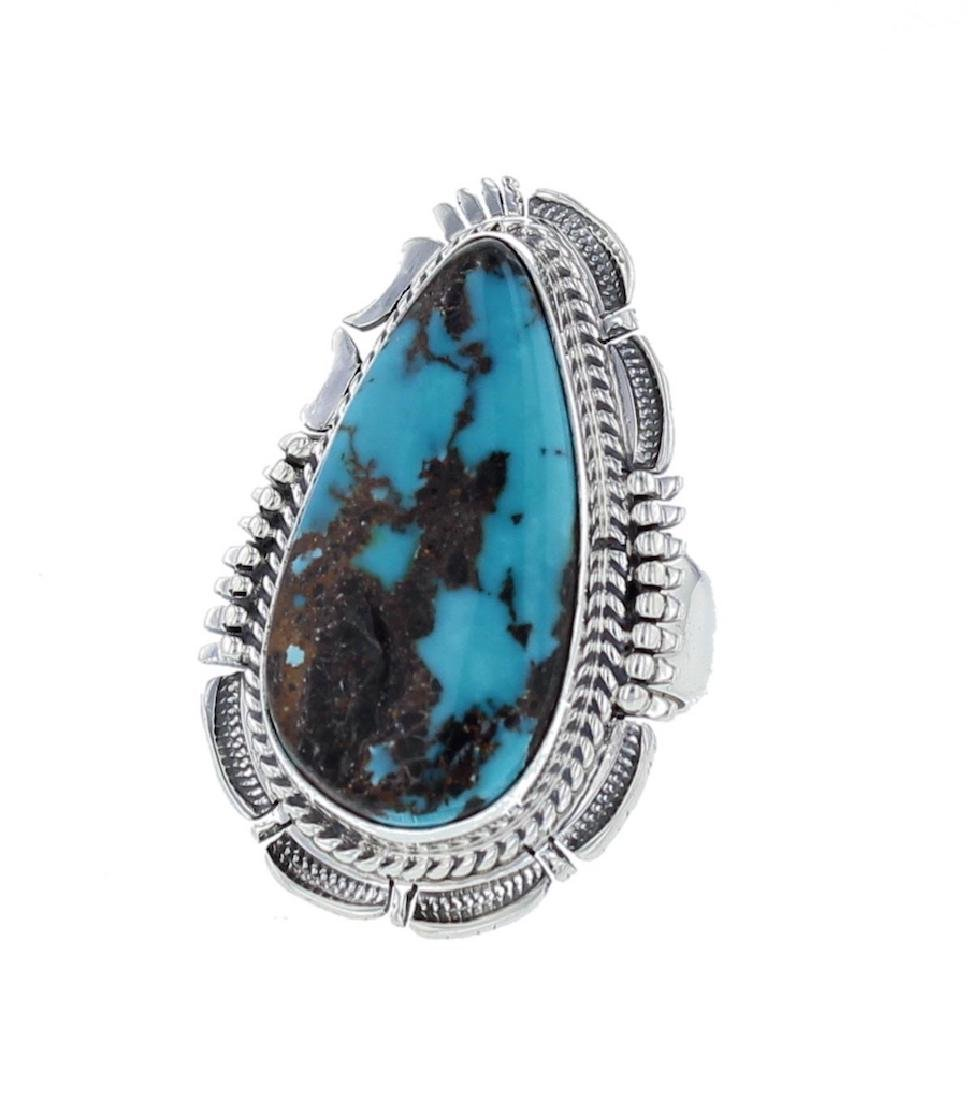 Sterling Silver Genuine Turquoise Contemporary Ring