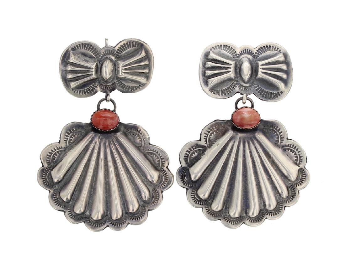 Sterling Silver Genuine Spiny Oyster Earrings Navajo