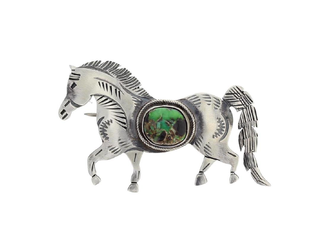 Sterling Silver Genuine Turquoise Horse Pin Navajo