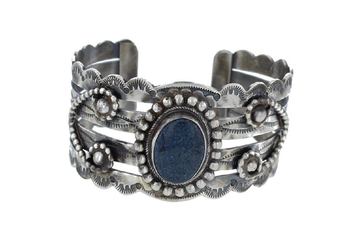 Sterling Silver Genuine Lapis Bracelet Navajo Native