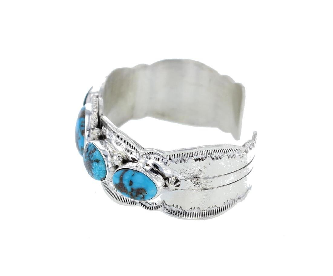 Sterling Silver Genuine Turquoise Contemporary Bracelet - 2