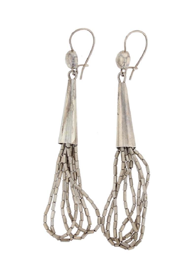 Sterling Silver Liquid Silver Earrings Navajo Native