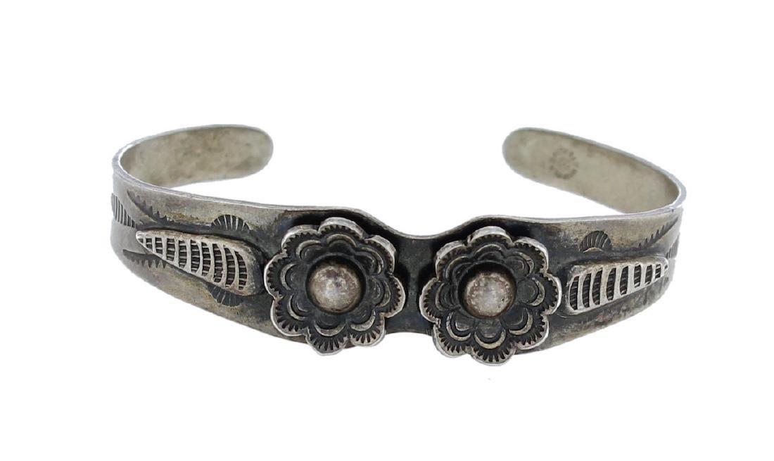 Sterling Silver Vintage Flower Bracelet Navajo Native