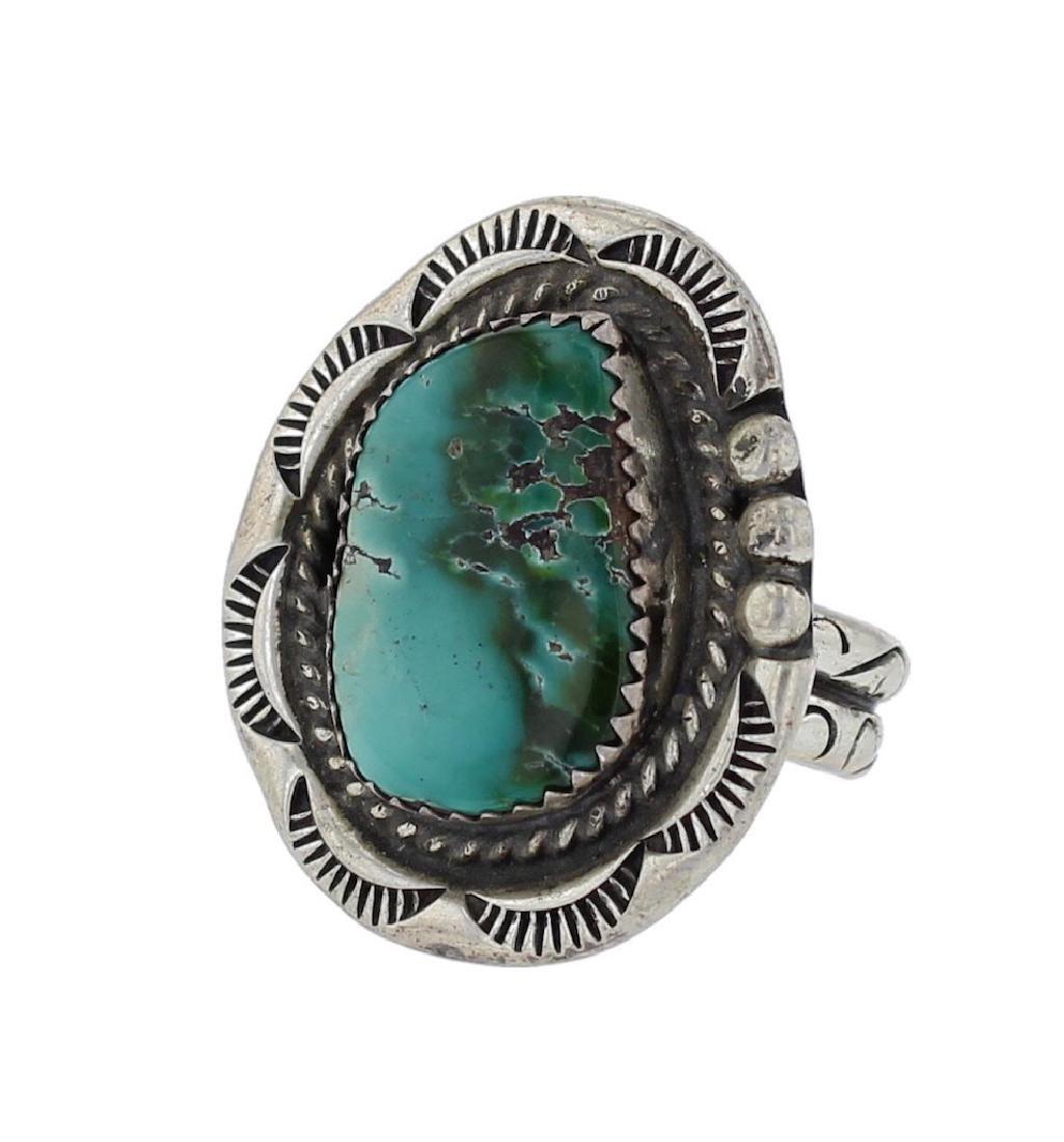 Sterling Silver Genuine Turquoise Vintage Ring Navajo