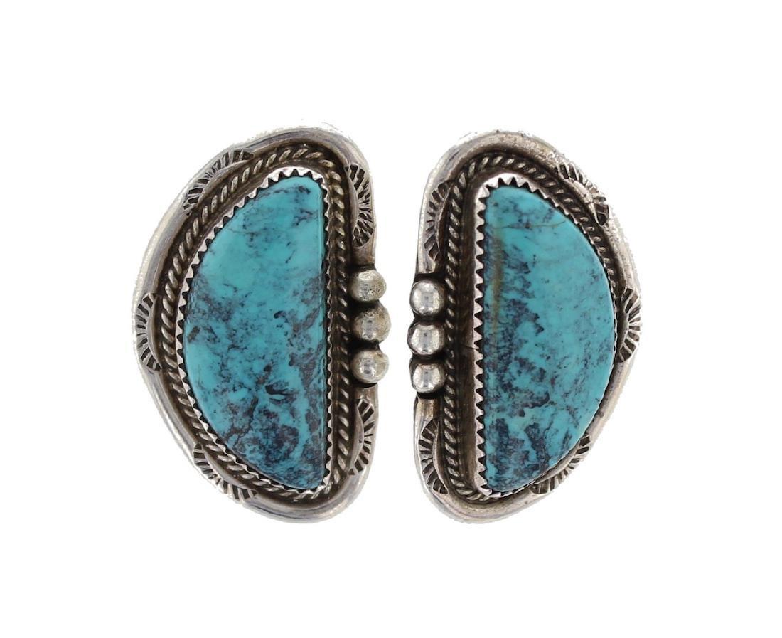 Sterling Silver Genuine Turquoise Earrings Navajo