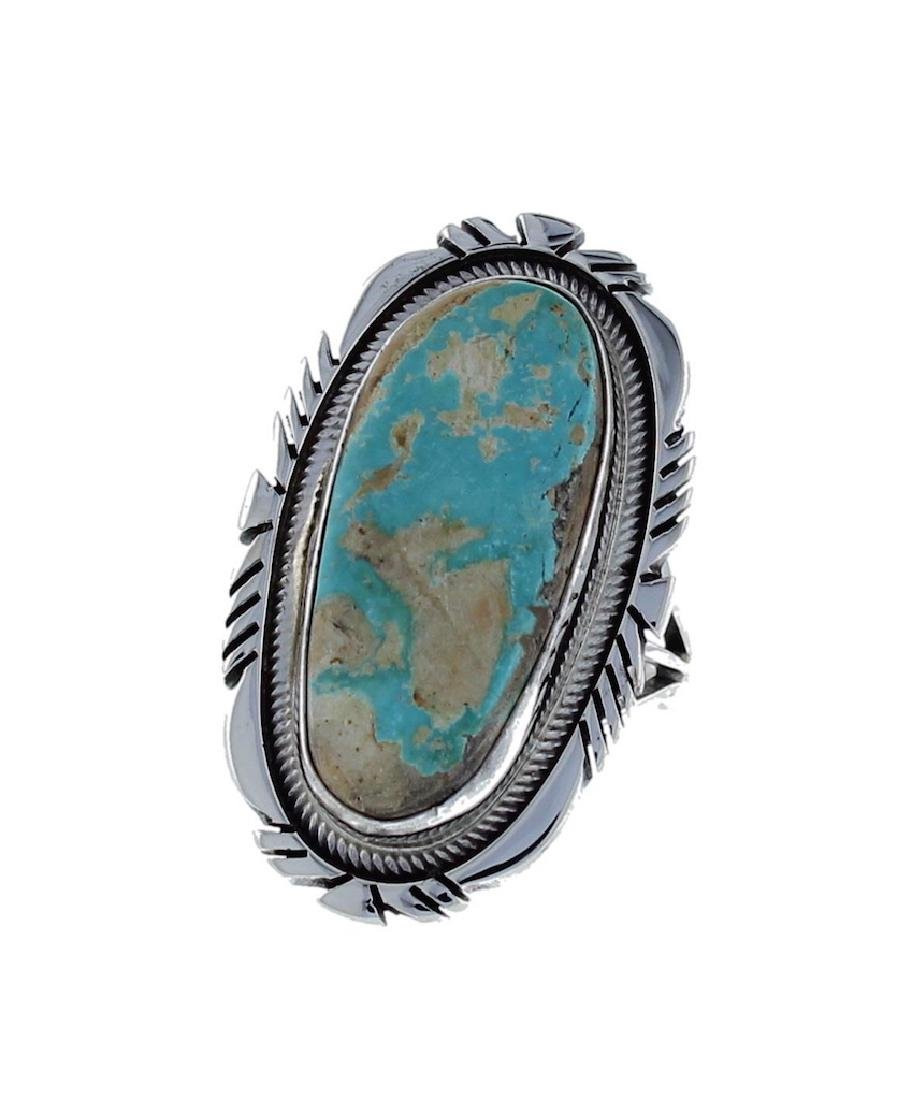 Sterling Silver Genuine Turquoise Ring Navajo Native