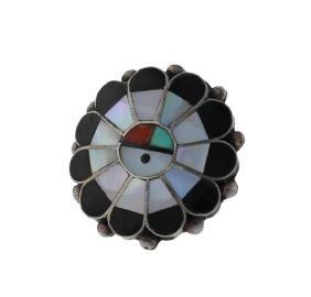Sterling Silver Genuine Multi Stone inlay Ring Navajo
