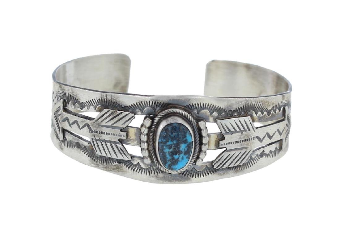 Sterling Silver Genuine Turquoise Arrow Bracelet Navajo