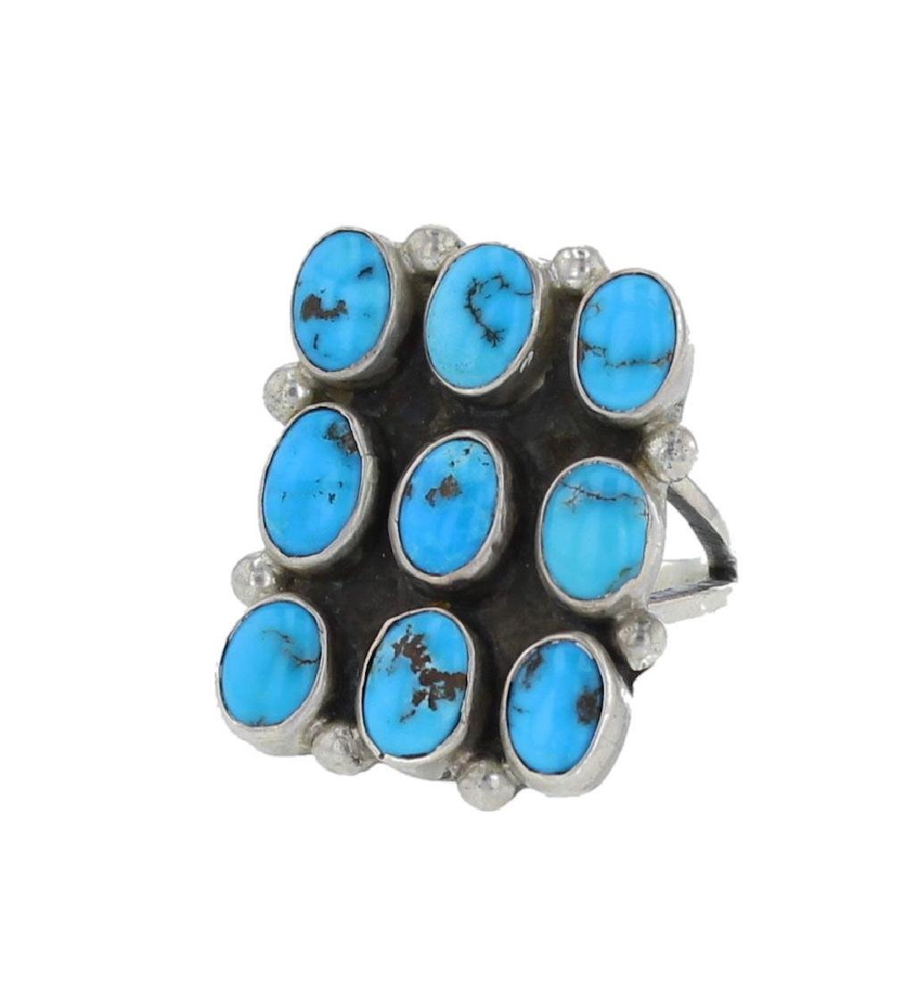 Sterling Silver Genuine Turquoise Vintage Circa 1970's