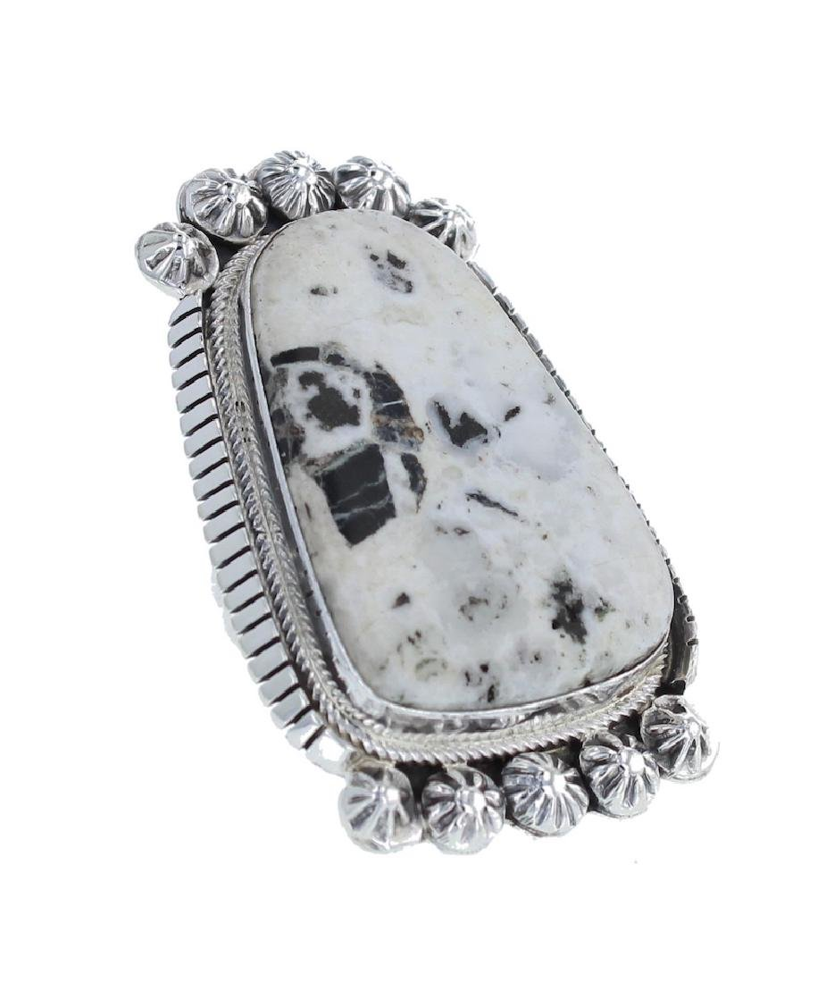 Sterling Silver Genuine White Buffalo Turquoise Ring