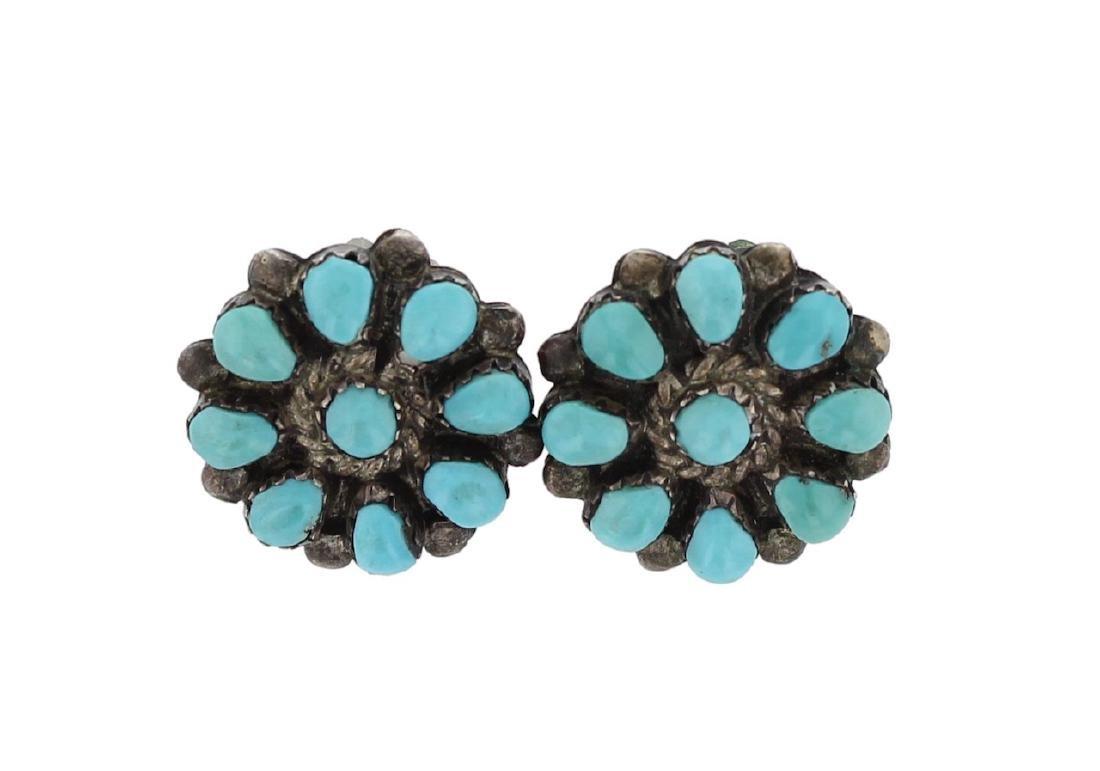Sterling Silver Genuine Turquoise Vintage Clip Earrings
