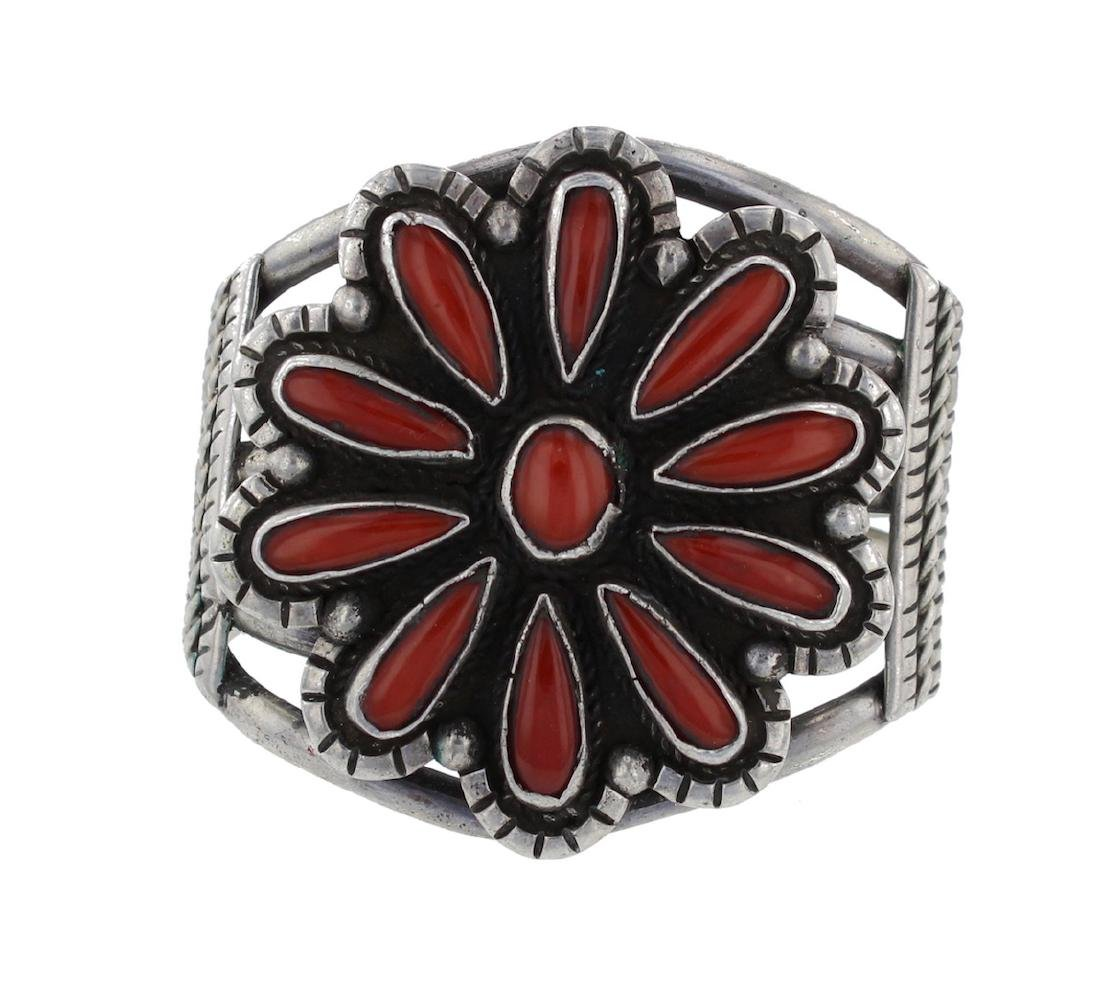 Sterling Silver Genuine Coral Circa 1970's Bracelet