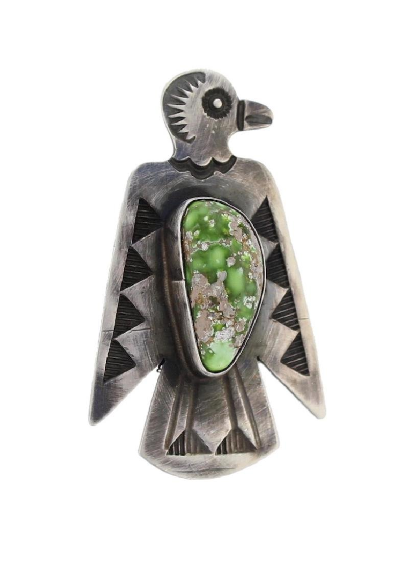 Sterling Silver Genuine Turquoise Pin Navajo Native