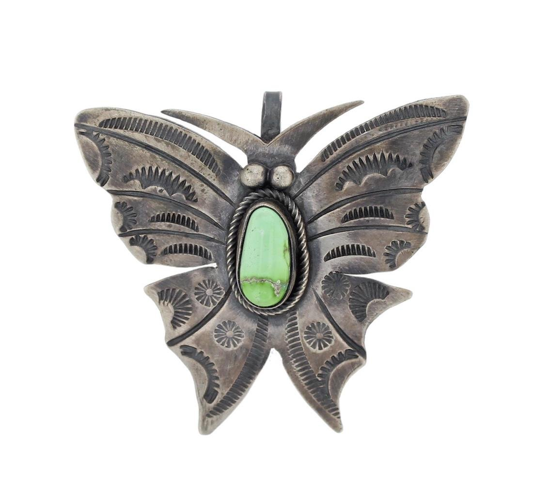 Sterling Silver Genuine Turquoise Butterfly Pin /