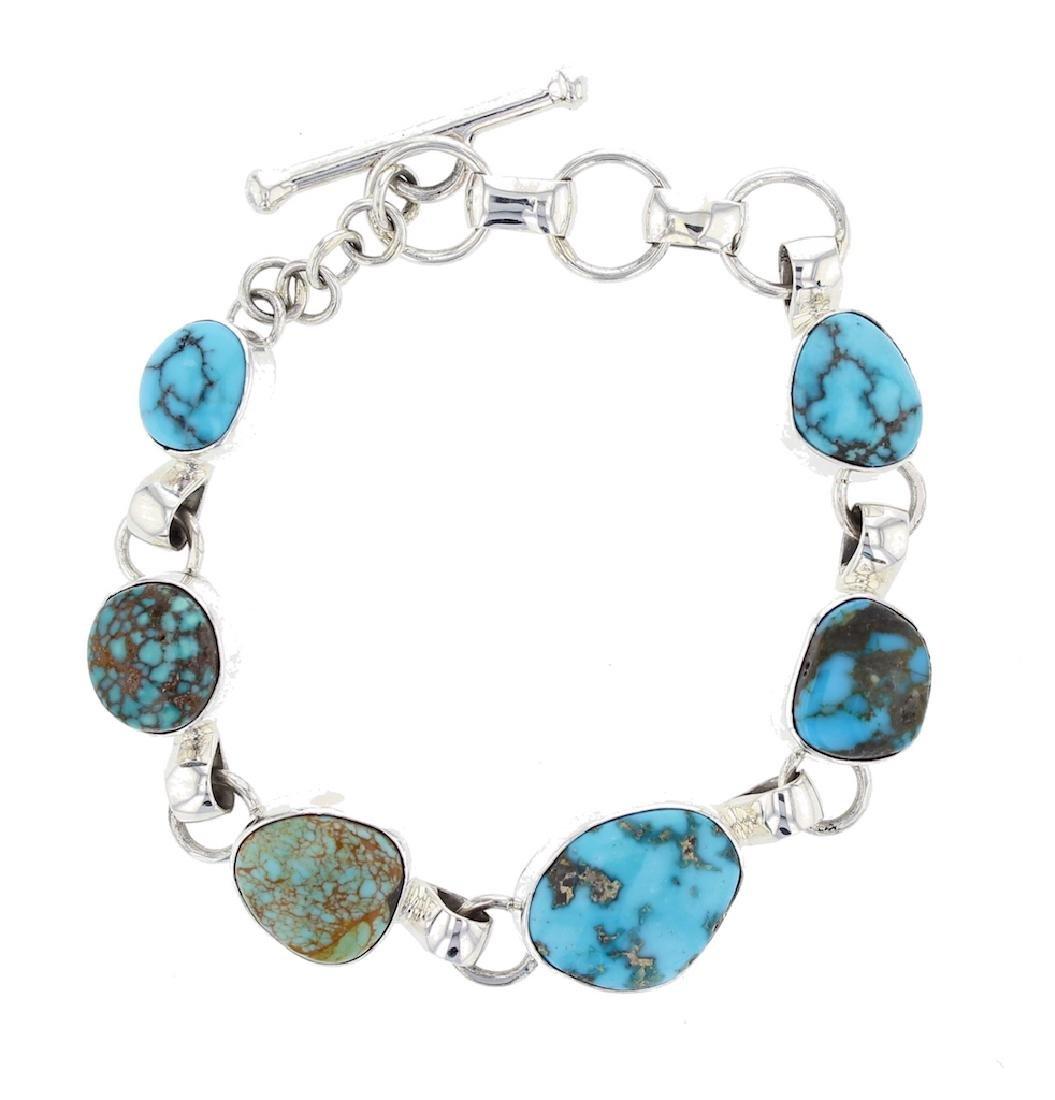 Sterling Silver Genuine Turquoise Link Bracelet Navajo