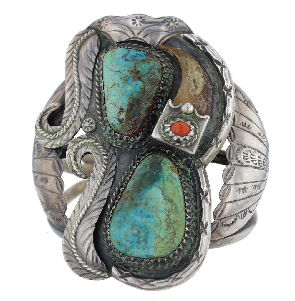 Sterling Silver Genuine Turquoise & Bear Claw Antique