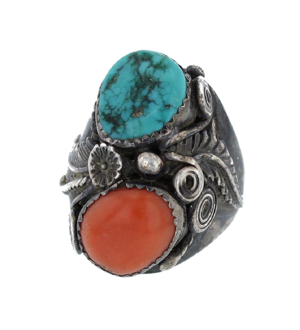 Sterling Silver  Turquoise & Coral Vintage Ring Navajo
