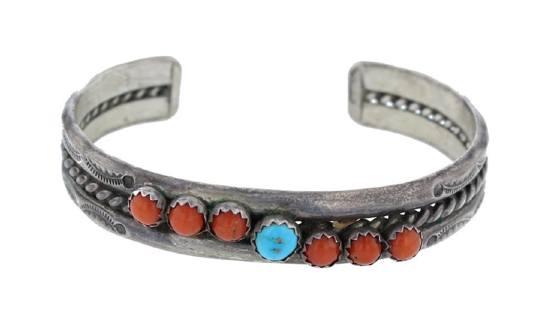 Sterling Silver  Turquoise & Coral Vintage Bracelet