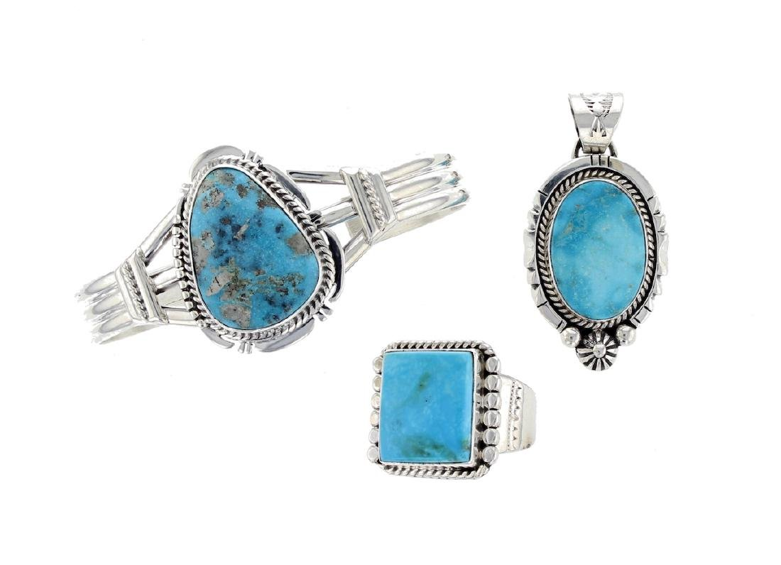 Sterling Silver  Turquoise Bracelet Ring & Pendant Lot