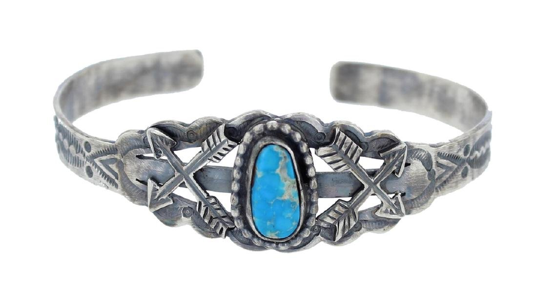 Sterling Silver  Turquoise Contemporary Bracelet Navajo