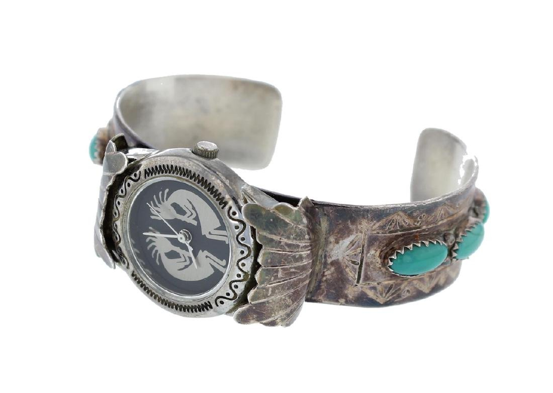 Sterling Silver Block Turquoise Vintage Watch Bracelet