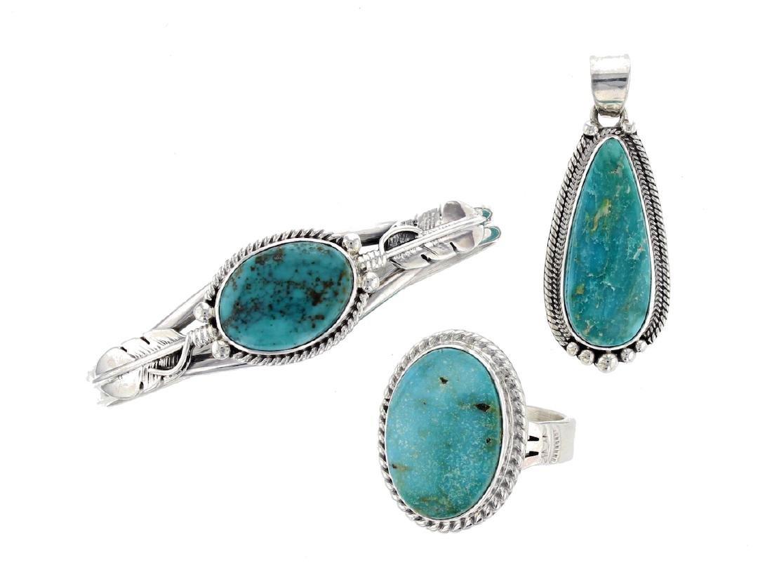 Sterling Silver  Turquoise Bracelet Pendant & Ring Lot