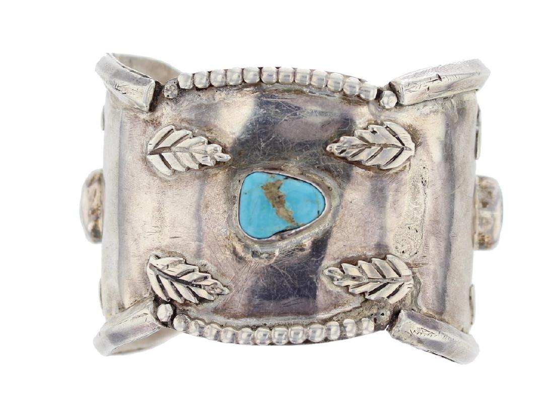 Sterling Silver  Turquoise Antique Bracelet Navajo