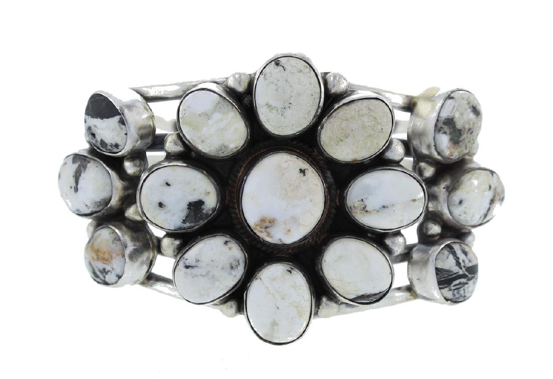 Sterling Silver  White Buffalo Cluster Masterpiece