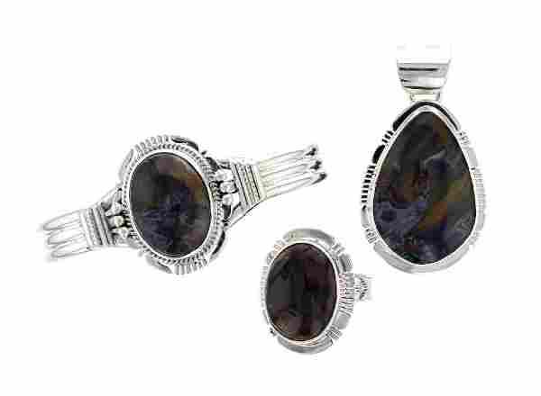 Sterling Silver Jasper Contemporary Bracelet Pendant &