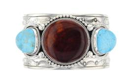 Sterling Silver Turquoise & Spiny Oyster Contemporary