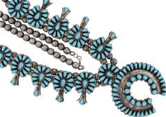 Sterling Silver Vintage Turquoise Squash Blossom