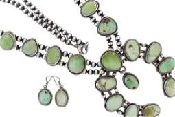 Sterling Silver Turquoise Squash Blossom Necklace &