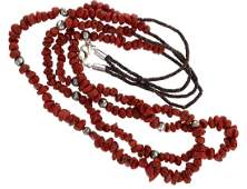 Sterling Silver Genuine Coral 2 Strand Heishe Necklace