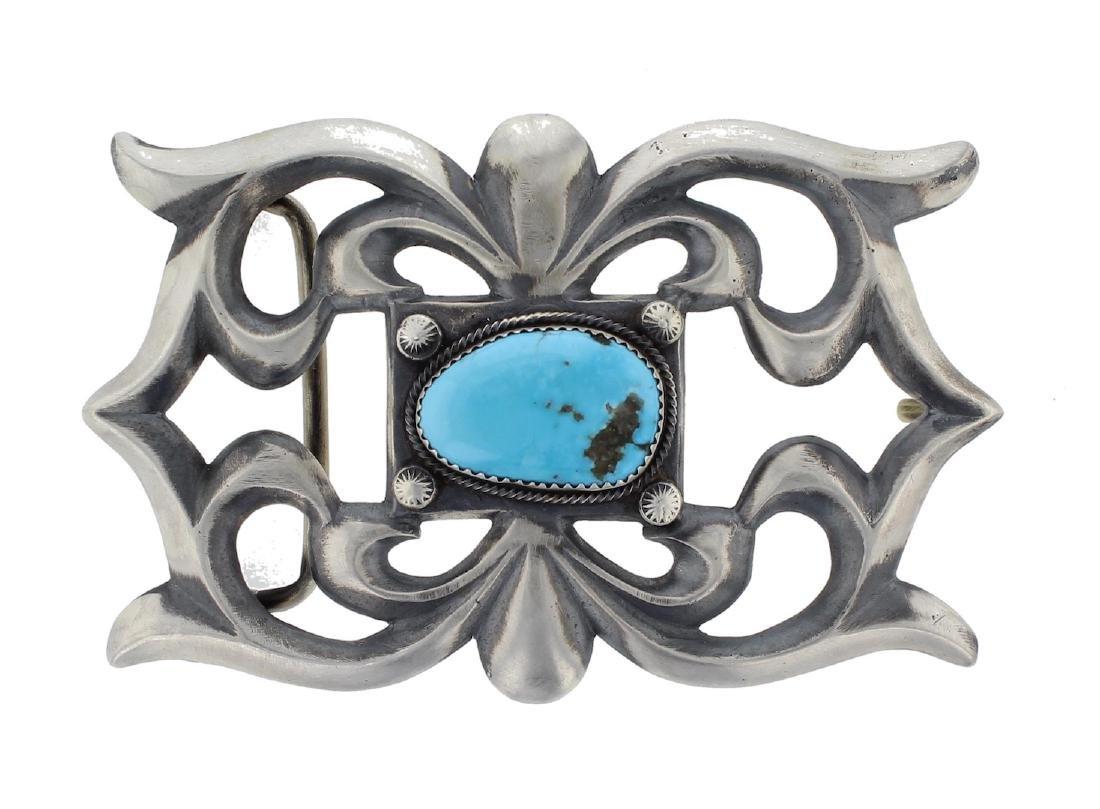 Sterling Silver Genuine Turquoise Sand Cast Belt Buckle
