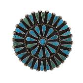 Sterling Silver Genuine Turquoise Vintage Pin Brooch