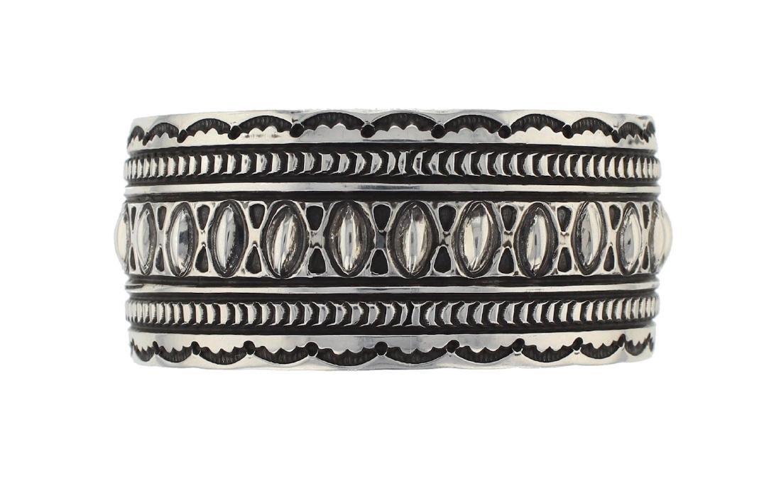 Sterling Silver Heavy Stamp Bracelet Navajo Native