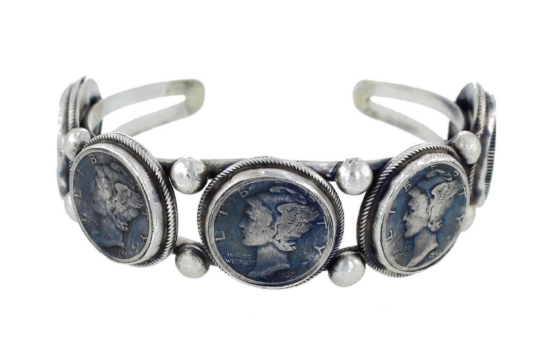 Sterling Silver Genuine Mercury Dime Bracelet Navajo