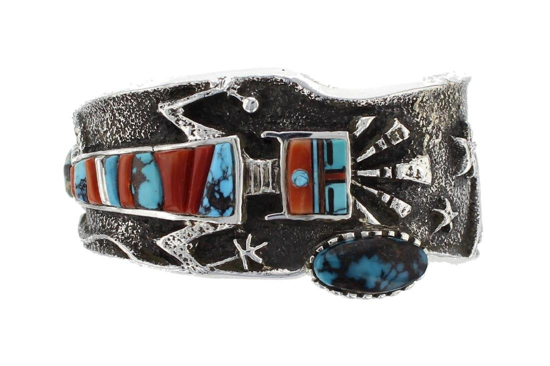 Sterling Silver Genuine Turquoise & Coral Vintage Tufa