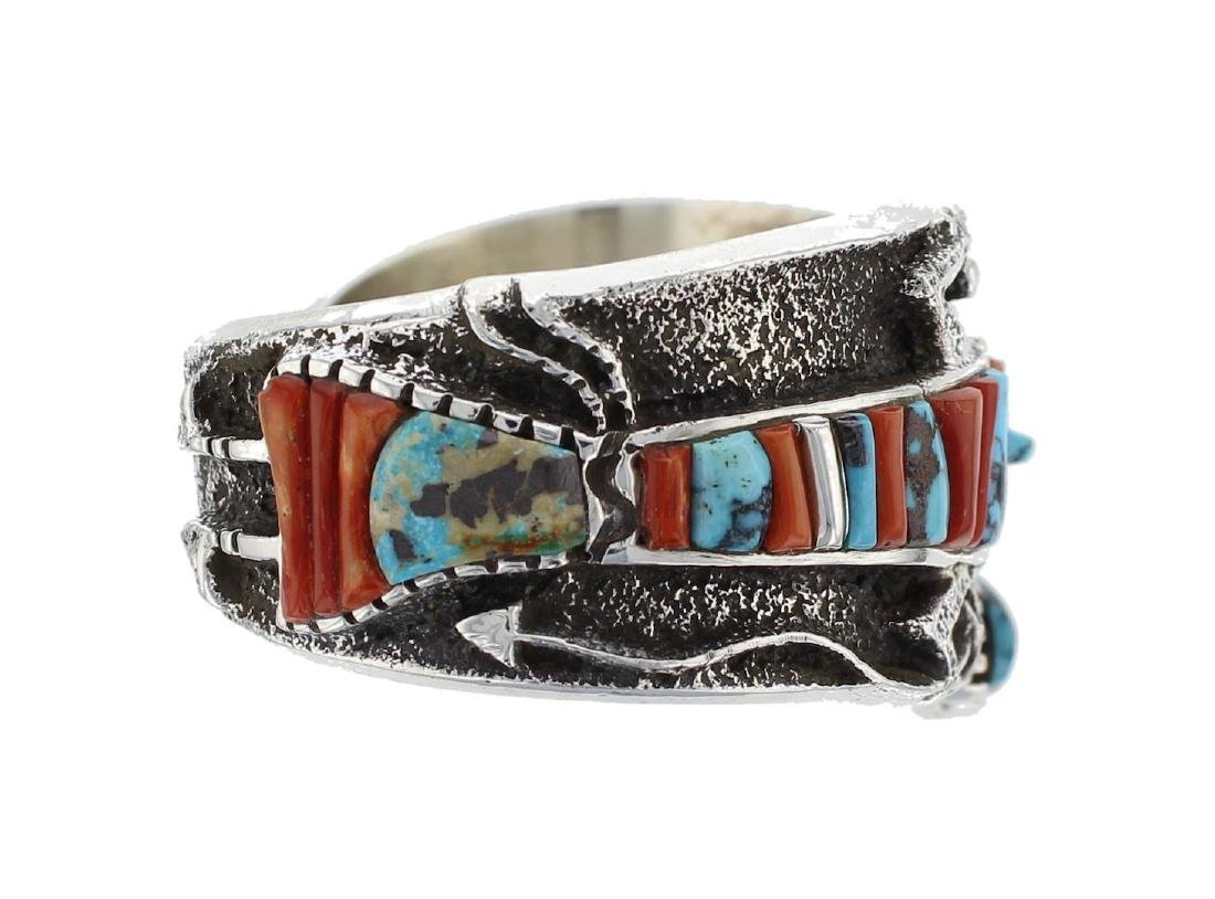 Sterling Silver Genuine Turquoise & Coral Vintage Tufa - 2