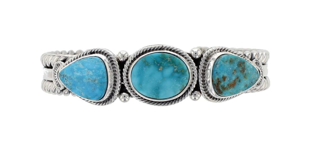 Sterling Silver Genuine Turquoise Rope Contemporary