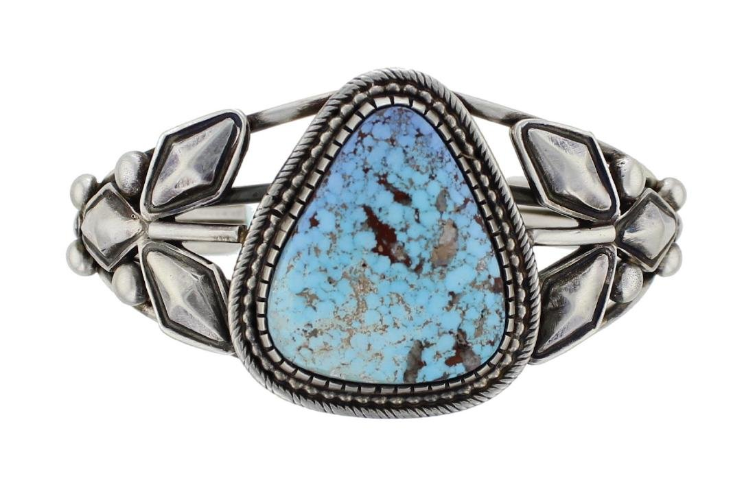 Sterling Silver Genuine Turquoise Stamp Cutout Bracelet