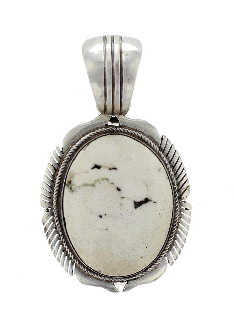 Sterling Silver Genuine White Buffalo Contemporary
